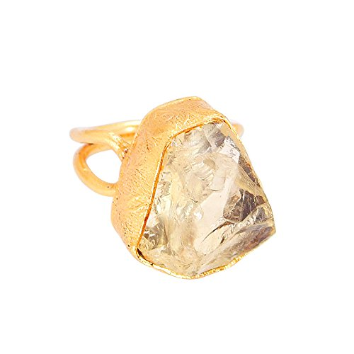 Hecho a mano 22K Oro Amarillo Vermeil Raw Gemstone citrino desgaste diario anillo