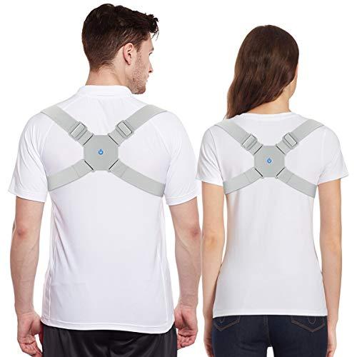 Aptoco Smart Back Brace with Intelligent Sensor Vibration Posture Corrector for Men/Women/Kids Electric Adjustable Straighten Back Support Belt Posture Reminder for Humpback Correction Trainer