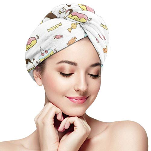Enveloppement de cheveux à séchage rapide, Teen Girl Dreaming About Sweets Food Doodle Characters Kawaii Cartoon Faces, Absorbent Shower Cap