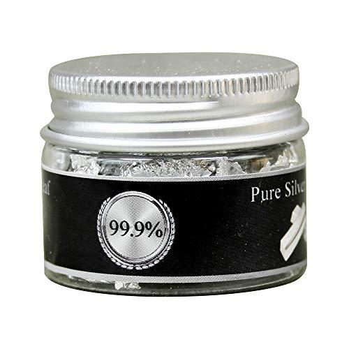 KINNO Hojuelas de Pan de Plata Comestible Auténtico para Decoración de Pastel & Chocolate Salud & Spa 0.1g/botella