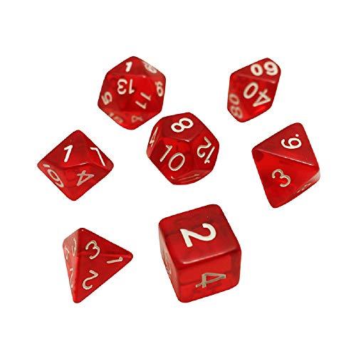 多面体サイコロ 7個 ダイス クトゥルフ神話TRPG カードゲーム 透明 知育 算数 (透明な赤)
