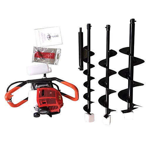 """DYRABREST 52cc Petrol Tiller Mini Cultivator 2.3hp Gas Powered Post Hole Digger Powered Engine with 4"""" 6"""" 8"""" Auger Bits for Farm Garden Yard Grass Shrub Lawn"""