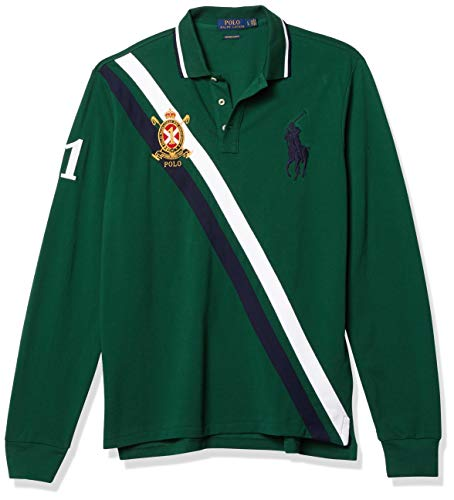 Polo Ralph Lauren Men's Custom Slim Fit Long Sleeve Big Pony Polo Shirt - L - Green
