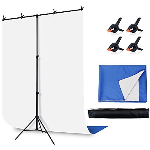 Faichee Pantalla azul blanca con kit de soporte para reuniones de zoom, pantalla blanca de 5 x 6.5 pies Chromakey pantalla blanca con soporte de fondo portátil en forma de T para videoconferencias, streaming, juegos