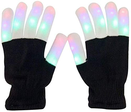 Aomeiqi Light Up Guanti for adulti, Guanti LED lampeggiante Finger Gloves luce colorata Rave Guanti for Halloween, Natale, Party, Ciclismo, Danza, Compleanno, Disco Club, Festival cappello natale WANG
