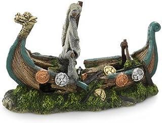 Red Aqua Della Viking Barco Acuario Decoración, 25,5 x 10,5 x