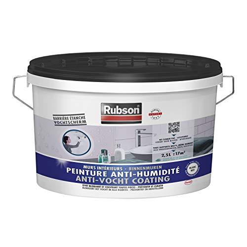 Rubson Peinture Anti-Humidité, peinture acrylique anti-moisissures préventif ou curatif, peinture blanche & étanche idéale pour les murs intérieurs & enterrés, 2,5 L, blanc