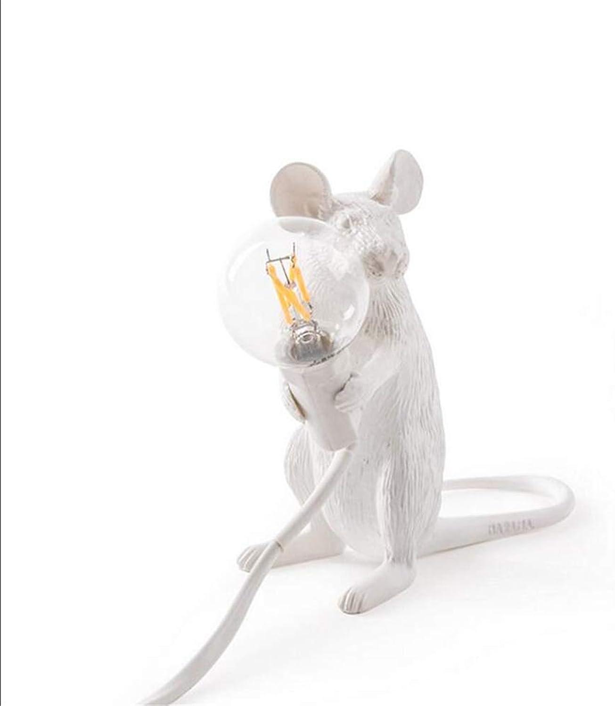 BOJOK LED E12 Schwarz Wei Tier Ratte Maus Schreibtischlampen Lichter Harz Nachtlichter Animal Art Gold Maus Tischlampen Lichter Nachttischlampe (Wei-Sitzen)