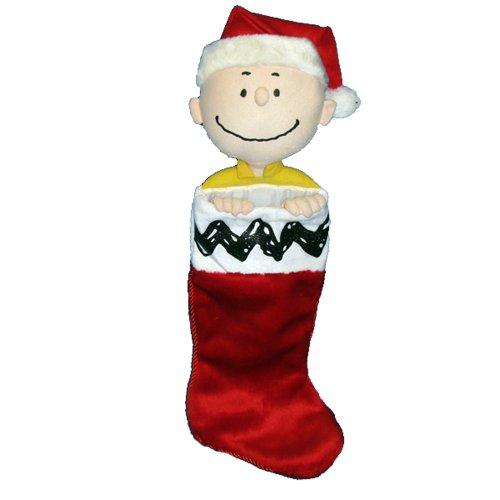 Kurt Adler Peanuts Charlie Brown Plush Head Stocking, 21-Inch