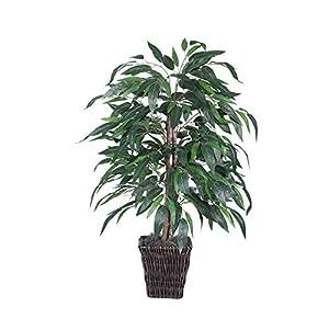 Vickerman 4′ Artificial Mango Bush in Square Willow Container,TBU2840-0414,Green