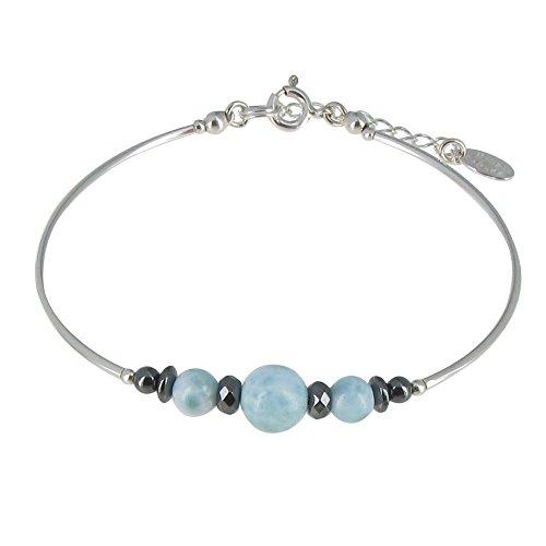 Schmuck Les Poulettes - Tubes Silber Armband Hämatit und Larimar Perlen