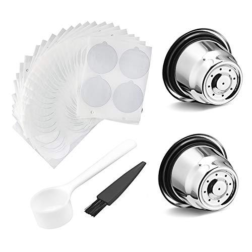 Konesky Caffè in capsule riutilizzabile capsule in acciaio inox 2 pezzi caffè in polvere filtro per macchina da caffè Nespresso con 100 film di tenuta foglio