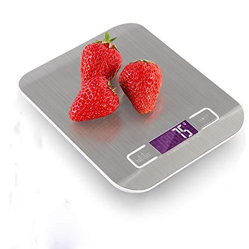 Balanza Digital Recargable Para Alimentos, Báscula De Cocina Usb Mejorada Con Pantalla Lcd Retroiluminada, Acero Inoxidable, 11 Lb / 5 Kg, División De 0.04 Oz / 1 g, 2 Baterías Aaa Incluidas (Plata, 10 KG)