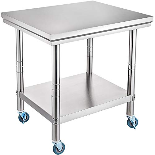 VEVOR 91x61cm Tavolo da Lavoro per Cucina Professionale Acciaio Inox Cucina, Catering Tavolo da Lavoro per Cucina in Acciaio Inox con Le Ruote,Tavolo da Lavoro Commerciale