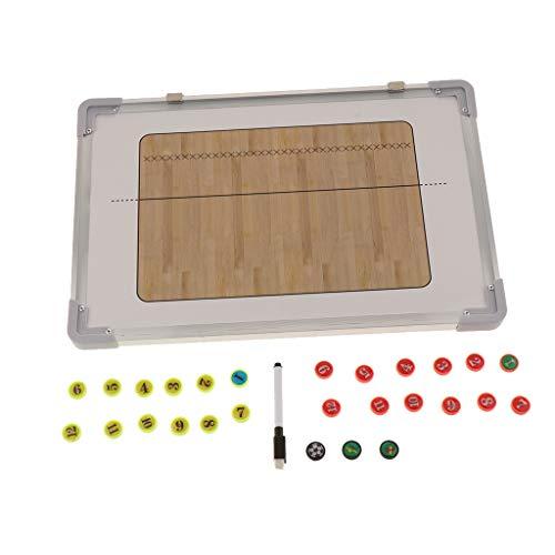 F Fityle Pizarra Magnética de Fútbol/Baloncesto/Voleiball/Balonmano para Entrenador, Material para Entrenamiento - marrón
