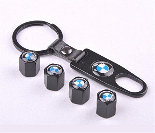 Bestmay - Juego de tapones para válvula de neumático de coche, cromado, para BMW con llavero