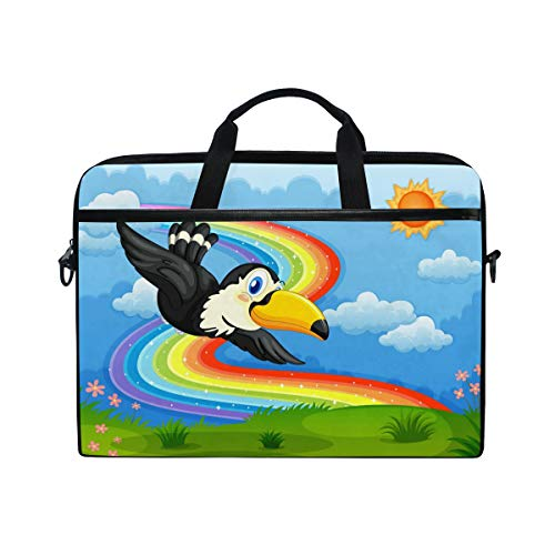 Toucan - Bolso Bandolera para Ordenador portátil de 14 a 15 Pulgadas, diseño de pájaros Volando con Dibujos de arcoíris