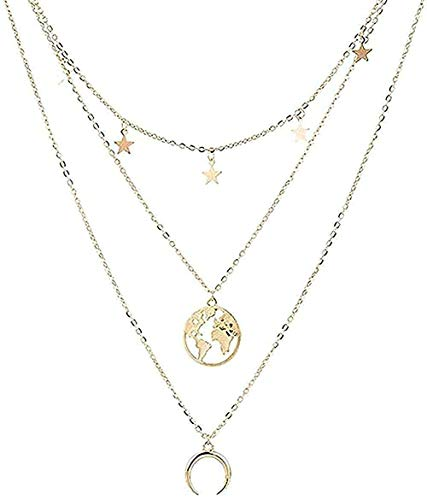 LDKAIMLLN Co.,ltd Collar Tarjeta de Modo de Modo Vintage Collar para Mujer Collar de Color Colgante de Varias Capas Collares Largos