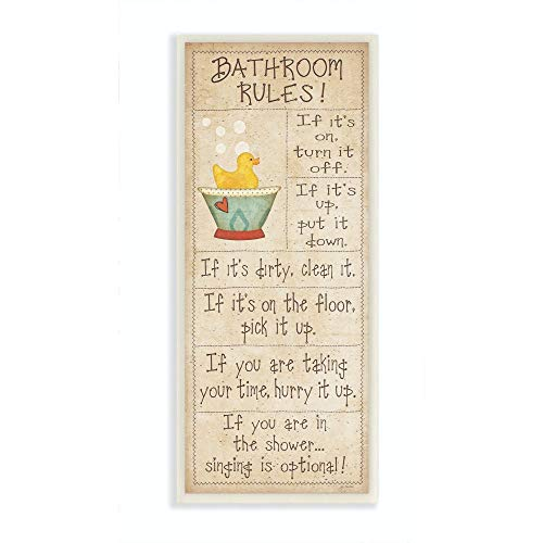 The Stupell Home Décor Collection Bathroom Rules Rubber Ducky Tall Bathroom Wall Plaque, 7 x 0.5 x 17, Proudly Made in USA