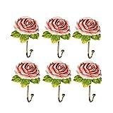 Ganchos para abrigos 6 Paquetes de ganchos de capa ganchos montados en la pared Elegante forma de flor ganchos decorativos de pared montados en la pared ganchos de ganchos para abrigo, bufanda, bolsa,