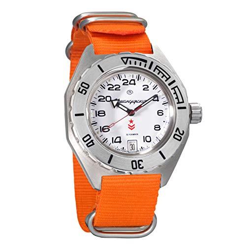 Vostok Komandirskie Automatic 24 Hour Dial Russian Military Wristwatch WR 200m (650546 Orange)