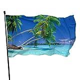 N/A Willkommensflagge,Garten Flagge,Strandlandschaft Palmen Home Flagge Große 3X5Ft Vertikale Outdoor Haus Dekor Hof Feier Prozession Festival Flagge