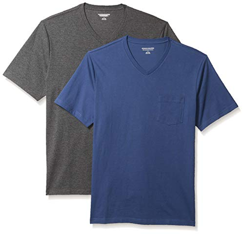 Amazon Essentials 2-Pack Slim-Fit V-Neck Pocket Fashion-t-Shirts, Blau/Anthrazit Heather, US M (EU M)