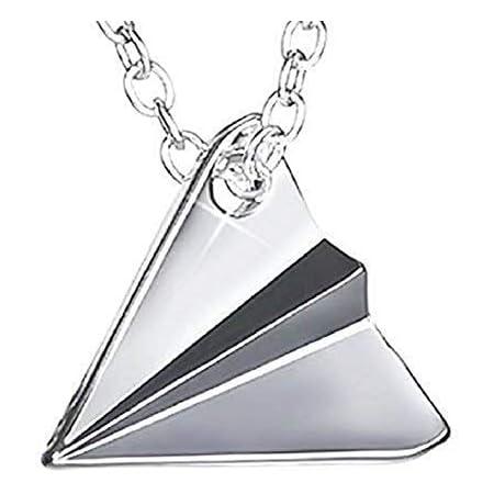 Legisdream Collana con Ciondolo Origami Aeroplano di Carta Argento Gioiello Idea Regalo Festa Amica del Cuore Mamma Fidanzata