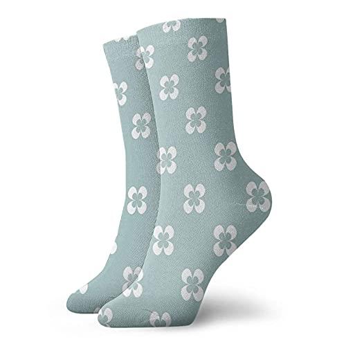 Calcetines de compresión para hombre y mujer con diseño gráfico de flores blancas sobre fondo verde, ideales para circulación, médico, correr, atletismo, enfermera, viajes