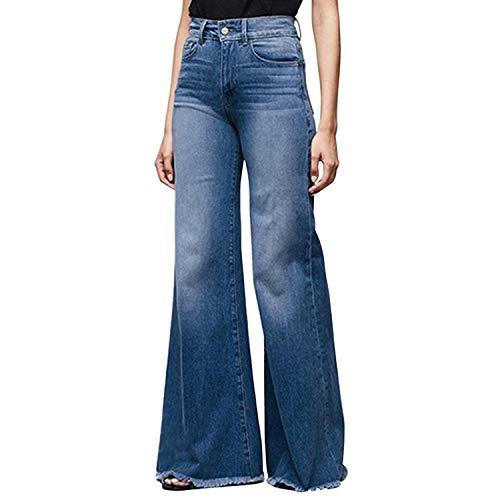 Runstarshow Jean Bootcut Femme Jean Evasé Pantalons Grande Taille Jean Taille Haute avec des Poches Décontracté Casual à La Mode