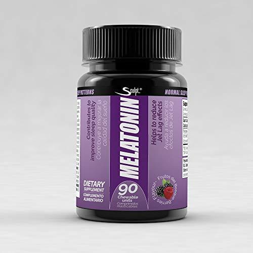 Melatonina 1,8 mg Hormona del sueño, Descanso, Jet lag, dormir mejor, Reduce el insomnio, estrés y fatiga, Extractos de plantas, sabor frutas del bosque.