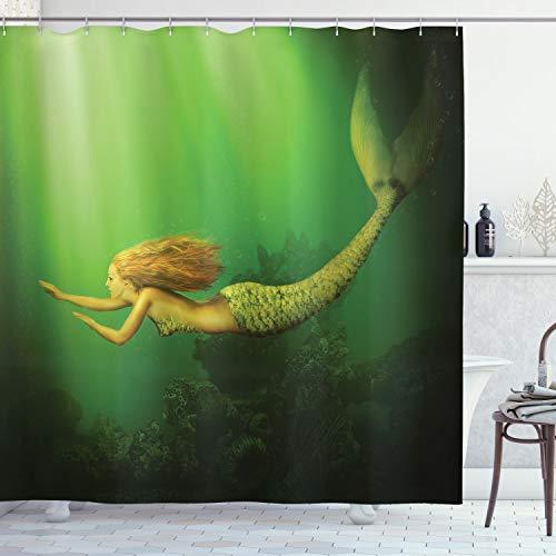 ABAKUHAUS Ozean Duschvorhang, Meerjungfrau mit Fischschwanz, mit 12 Ringe Set Wasserdicht Stielvoll Modern Farbfest & Schimmel Resistent, 175x180 cm, Dunkelgrün Ingwer Grün