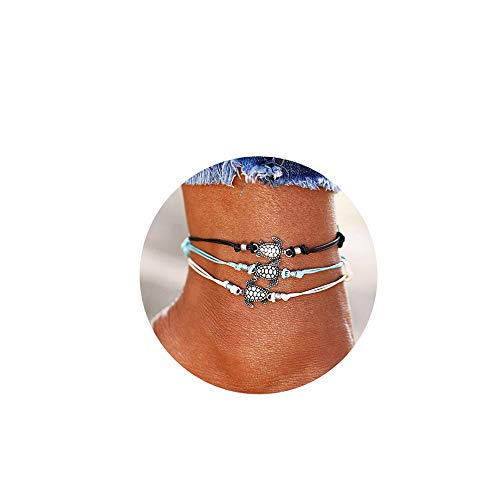 Softones Blue Starfish Turtle Anklet Multilayer Charm Beads...