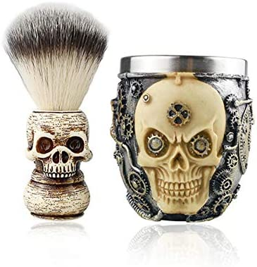 Badger Shaving Brush and Bowl Shaving Brushes for Men With Skull Headed Handle Brush and Bowl product image
