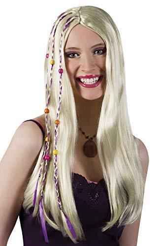 Perruque hippi blonde et perles pour déguisement disco sexy