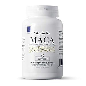 Maca Andina | 500mg Extracto de Raíz 10:1 ¡El Mayor del Mercado! | Potenciador Natural de Testosterona + Afrodisíaco + Fertilidad | Calidad de Vitaminalia | Apto Vegetariano | 180 cápsulas