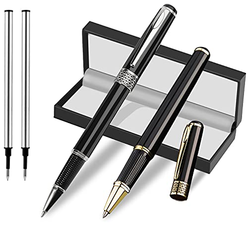 GALAGEE Weighted Pens for Hand Tremors, Arthritis Hand, Poor Grip Strength and Parkinson's Patients - Luxury Heavy Metal Rollerball Pens to Aid Writing for Seniors, Children and Elderly (2 Pack)