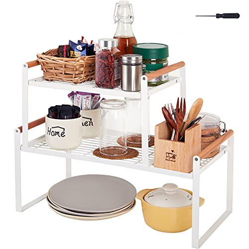 DOTORYDESIGN 2 Pack Stackable Kitchen Cabinet Shelf Counter Organizer Rack 18' Wire Cupboard Stand Spice Rack Organization and Storage For Cabinet Countertop Pantry Shelves Under sink BathRoom - White