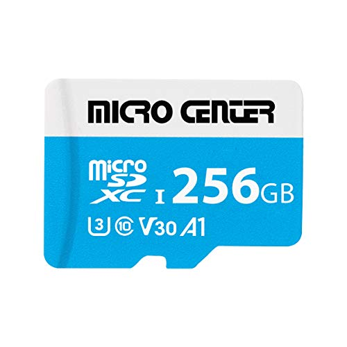 Micro Center Premium 256GB microSDXC Card UHSI Flash Memory Card C10 U3 V30 4K UHD Video A1 Micro SD Card with Adapter 256GB