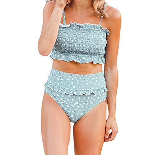 DONTAL Women Pleated Tube Up Printed Two Pieces Bikini Swimwear Swimsuit Beachwear Blue