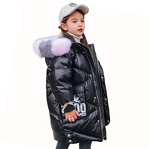Children's Down Jackets, Girls' Hats Fur Collar Thick Down Coats Winter Coats Lightweight Jackets Thick Warm Fluffy Waterproof Windproof Cotton Shiny Jackets,Black,160CM ( Color : Black , Size : 130 )