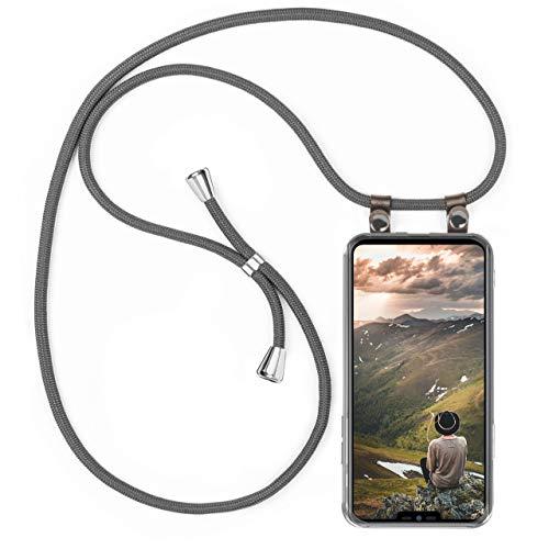 moex Handykette kompatibel mit LG G7 ThinQ / G7 Fit - Silikon Hülle mit Band - Handyhülle zum Umhängen - Hülle Transparent mit Schnur - Schutzhülle mit Kordel, Wechselbar in Grau