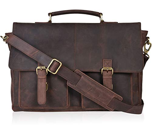 Travel Leather Messenger Bags for Men - Crossbody Briefcase17 inch Laptop Bags