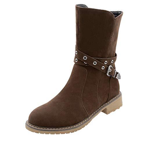 Stiefel Mode gekreuzt halten warm Herbst und Winter Frauen Pure Color Knöchel (39,Braun)