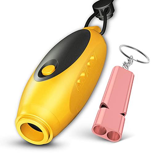 【3種類の音色と音量】電子ホイッスル Seebaby 単4電池3本付き カラー4種類 音量 音色変換可能 日本語取扱説明書(イエロー)