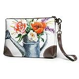 Yaxinduobao Cartera impermeable suave, bolso de mano, flores en una regadera, pulsera de cuero suave con cremallera para mujeres y niñas