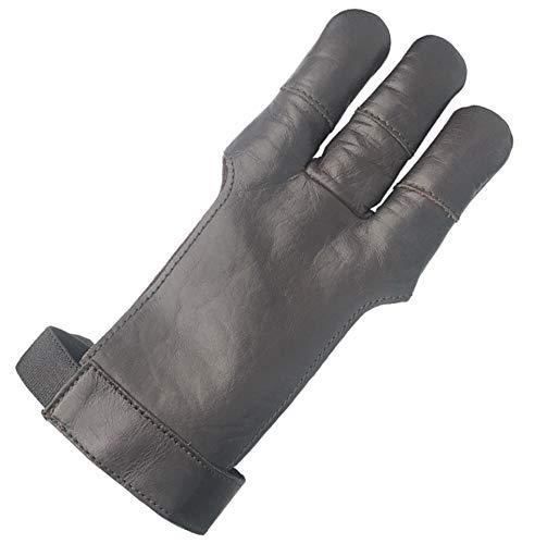 longbowmaker Schwarzer Bogenschießen Handschuhe 3 Finger Leder Schießhandschuh Kinder Bogensport AG300L