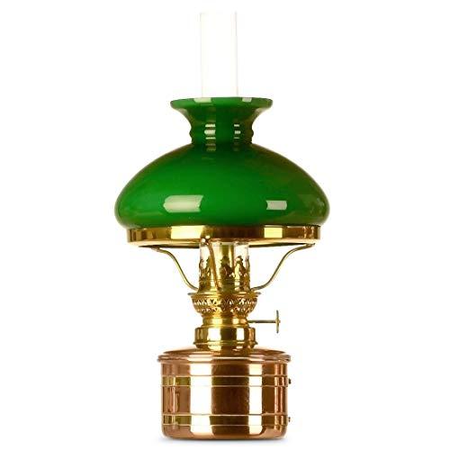 Elbe Petroleumlampe 2 Kupfer/Messing, 8''', grüner Vestaschirm, Made in Germany