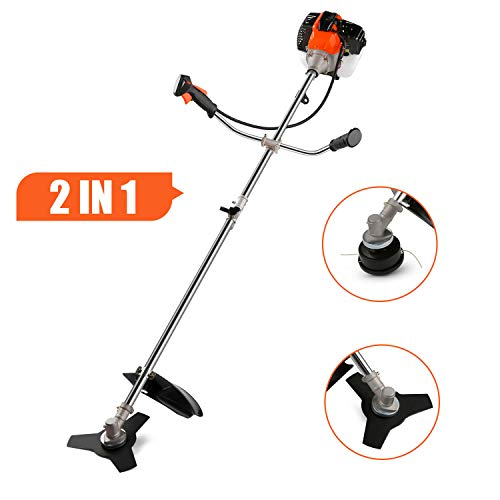 Voluker 2-in-1 Weed Eater, Grass Trimmer/Edger/Mini-Mower, 2-Cycle Gas String Trimmer with 2 Detachable Head for Trimming Grass/Weed, Cutting Shrub/Bush(42.7CC)