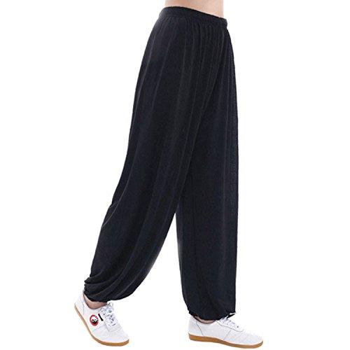 MESHIKAIER Grande Taille Super Doux Sarouel Pantalon Femme en Modal Pantalon Yoga Pantalon Harem Pantalon Bouffant pour Sport Jogging DanseÉlastique et Extensible (3XL, Noir)